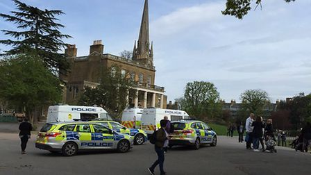Police at Clissold Park today. Picture: @OAslanses