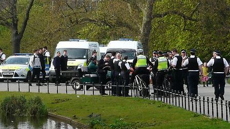 Police were searching for a high-risk missing person at Clissold Park today. Picture: @heckmonwyke