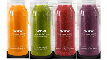 The new range of chia seed based drink from health drinks fim WOW Food and Drinks, launched by Olive