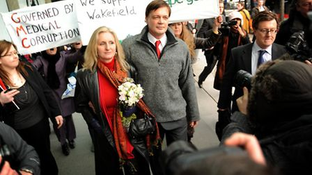Andrew Wakefield with his wife Carmen Wakefieldat the General Medical Council headquarters in 2010.