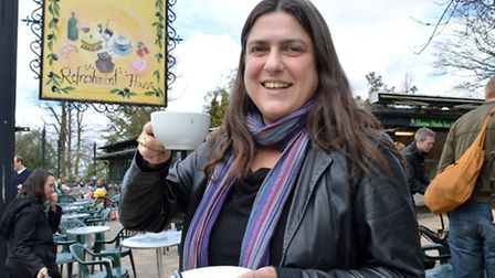 Esther Hyman celebrates the news at The Refreshment House, in Golders Hill Park, picture: Polly H