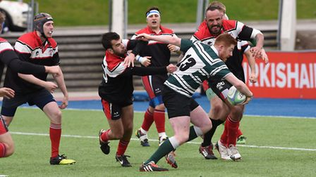 Derry O'Connor finds a way through the West London defence to score his second try. Pic: Paolo Minol