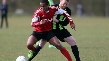 Dynamics (red) beat Eagles 2-1 in the Dickie Davies Cup semi-final. Pic: David Simpson/TGS Photo