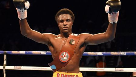 Ohara Davies (gold shorts) defeats Andy Keates to win the English lightweight title at the O2 Arena.