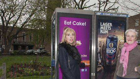 Activists Sue Hessel and Amanda Carrara are trying to get BT to remove the phone boxes. Photo: Nige