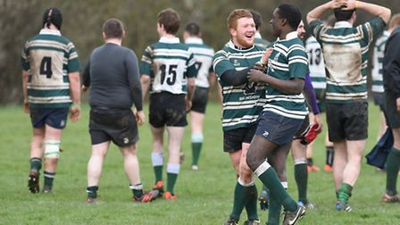 Lawrence Moore and try-scorer Chris Kyingi savour Hendon's success at the final whistle. Pic: Paolo