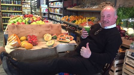Prince Zylinski relaxes with a green veg smoothie. Picture: Duncan Raban