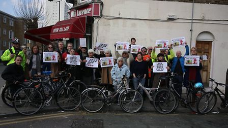 Campaigners protesting against the quietway