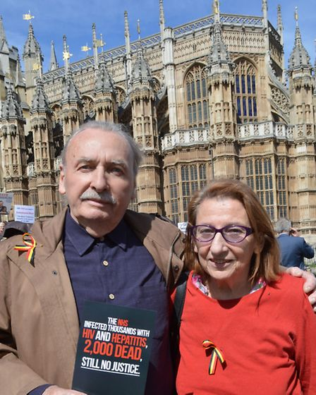 Nick's parents Dan and Della Hirsch at the protest outside Parliament. Picture: Polly Hancock