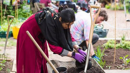 Volunteers help out at last year's Big Dig in the Dalston Eastern Curve garden