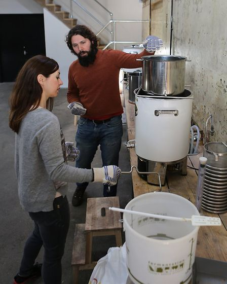 Emma Bartholomew attending a beer brewing class with Brew Club's
