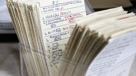 Derek's encyclopaedia was all analogue, and he used these index cards. Picture: Amir Dotan