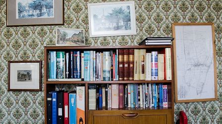 Derek's collection of Stoke Newington related books. Picture: Amir Dotan