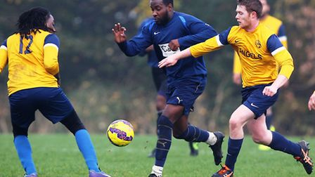 Athletico Angels (yellow) recovered a two-goal deficit to beat Birkbeck Orient 3-2 in Hackney & Leyt