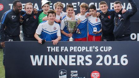 St Johns Wood Under-16s celebrate with the trophy after winning the FA People�s Cup
