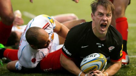 Chris Wyles celebrates his try against Exeter at Allianz Park on Saturday