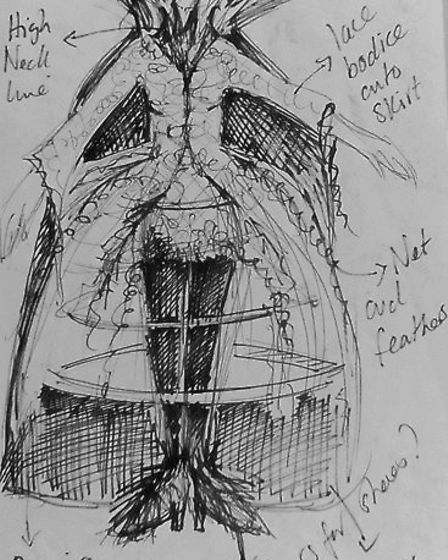 The original costume design for the Evil Fairy Atrocia in Sleeping Beauty, 2013. Picture: Harriet Ch