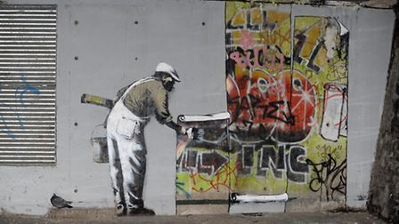 Banksy began a feud with King Robbo in 2009 with this depiction of a workman over painting a mural b