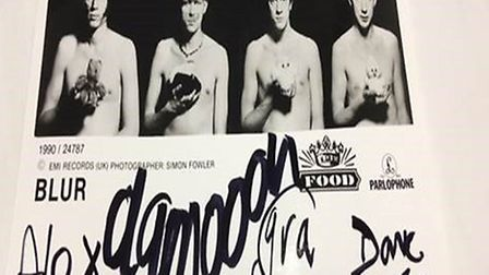 A signed photo from Blur
