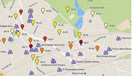 A map showing the pollution hotspots across Hampstead