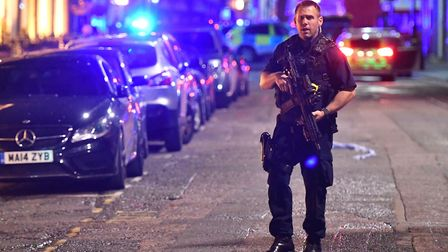 Armed police on Borough High Street at London Bridge, during the 2017 terrorist attack