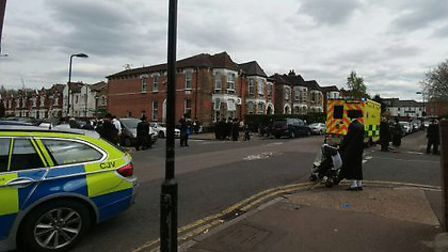The scene of the crash in Heathland Road. Picture: @999London