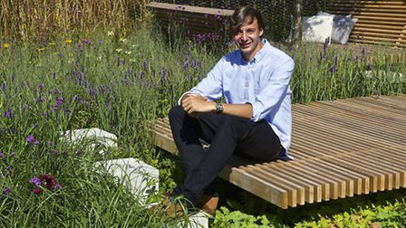 Sam Ovens in his garden The Sky's The Limit, designed by Sam Ovens. PA Photo/RHS/Lee Beel