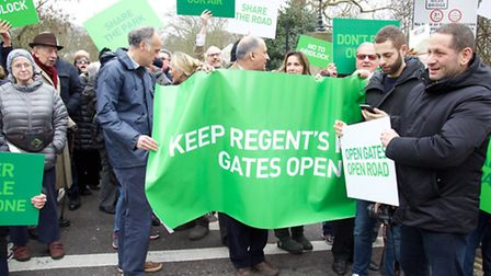 Protest against Cycle Superhighway Regent's Park in March. Photo by Adam Tiernan Thomas