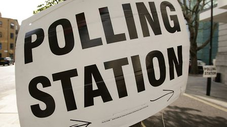 A polling station sign outside the Assembly Halls of Hackney Town Hall on the day of the General Ele