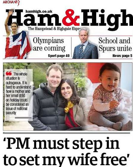 Front page of Ham&High this week featuring the free Nazanin campaign