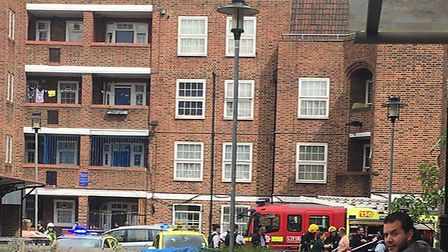 The fire is at the Stamford Hill Estate, photo @999London