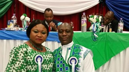 The Sierra Leone Independence Group North East London chairman and chairlady Abdul and FA Jnr Bangur