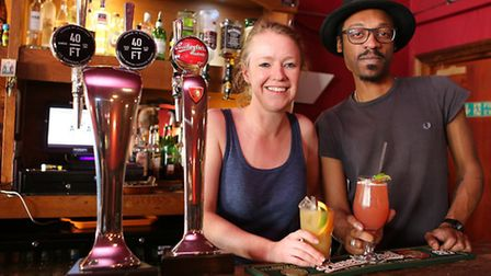 Lauren Johns and supervisor Moses Elliott shoe off their range of non-alcoholic drinks at The Three
