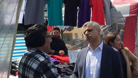 Sadiq Khan with locals at Ridley Road Market