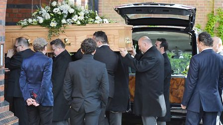 The coffin arrives for the funeral of David Gest arriving at Golders Green Crematorium in north Lond