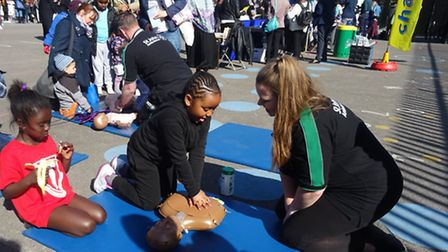 Children learn first aid at the healthy lifestyle day
