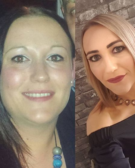 Hollie Barrett pictured before and after her weight loss. Picture: Hollie Barrett.