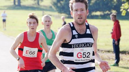 Shaun Dixon (right) in action for Highgate Harriers. Pic: Dieter Perry