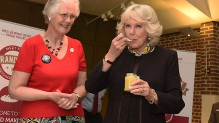 The Duchess of Cornwall on a visit to the Geffrye Museum for the launch of GrandFest and trying some