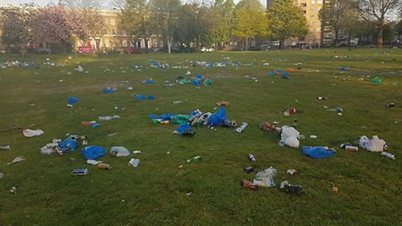 Rubbish was left covering the grass. Picture: Hackney Council