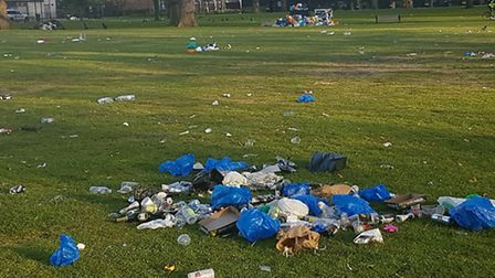 Council cleaners were forced to clean up the mess after the previous day's events. Picture: Hackney