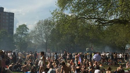 People enjoyed the sunshine on Sunday at London Fields, but others left piles of rubbish all over th