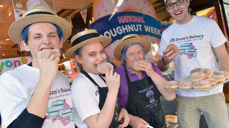 Staff at Dunns Bakery in Crouch End celebrate the start of National Doughnut week. From left staff
