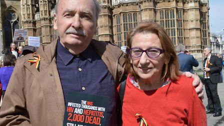 Parents Della and Dan Hirsch, who lost one of their twin sons to the contaminated blood scandal