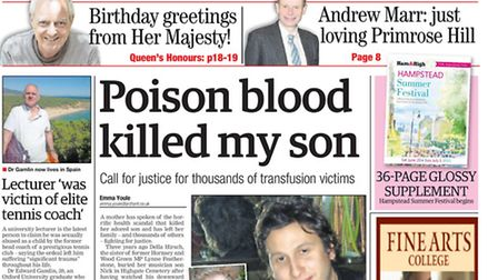 How the Ham&High covered the contaminated blood scandal last year