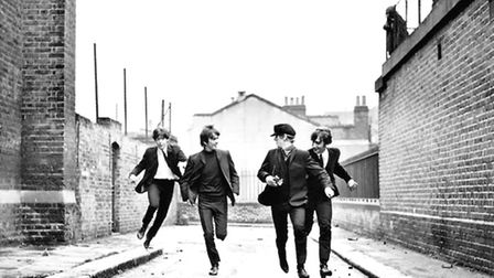 Paul McCartney, George Harrison, Ringo Starr, and John Lennon in A Hard Day's Night. Picture: Bruce