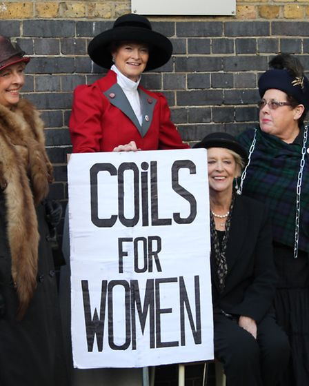 Women dressed as suffragettes protested outside the Margaret Pyke Centre which will now be closing.
