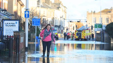 Flooding in 2013 in London Road South, Lowestoft.