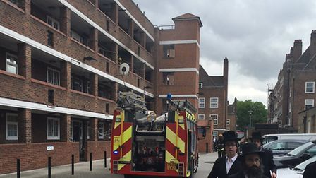 People are evacuated from buildings around the explosion (Picture: @999London)