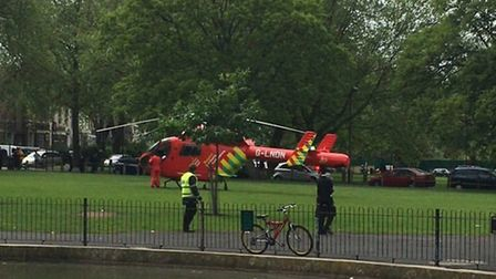 The Air Ambulance lands near the Stamford Hill estate (Picture: @999London)